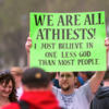 Atheist Rally Misspelled Sign