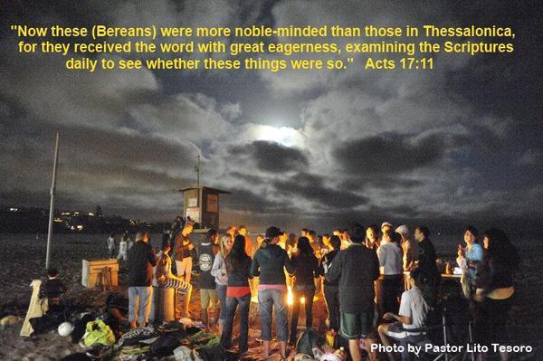 Acts 17-11 - Beach Bible Study - Del Mar Beach - TEXT.Pastor Lito
