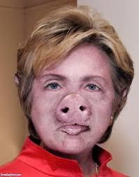 Image result for hillary with a pig nose pic